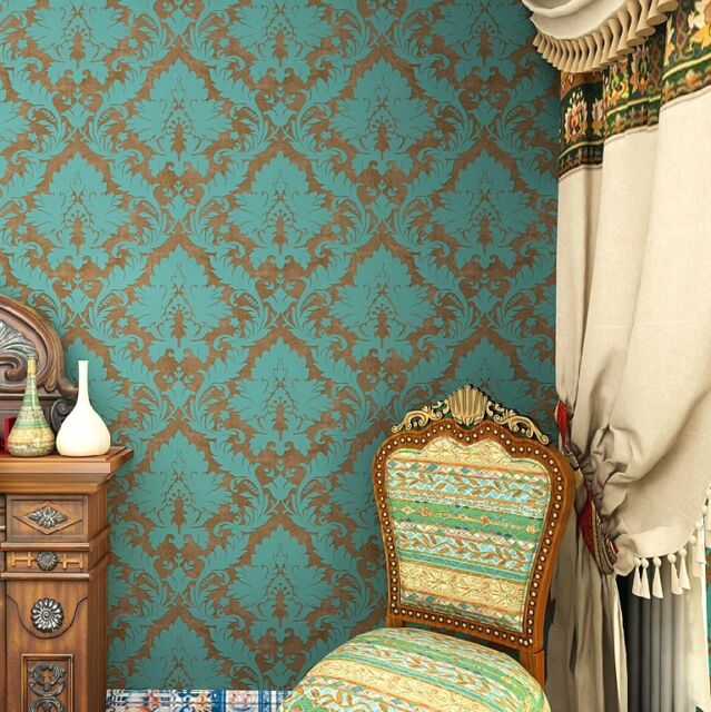 "Vintage Green/Bronze Damask Flocking Wallpaper Roll Home wall decor 20.8""x393.7"""