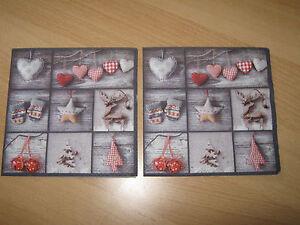 3-Servietten-Napkins-Elch-und-Weihnachtssterne-Herzen-HandschuheShabby-Vintage