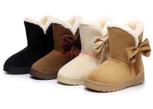 New Women Suede Fur Fleece Lined Ankle Snow Boots Warm Slip On Winter Shoe Bows