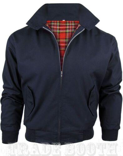 New Men/'s Blue Navy Harrington Jacket Gingham Tartan Check Lined Sizes XS To 5XL