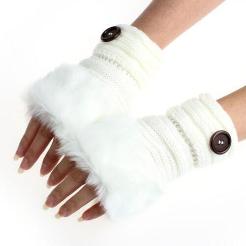 Womens Snow Winter Warm Wool Faux Rabbit Fur Wrist Fingerless Gloves Mittens US
