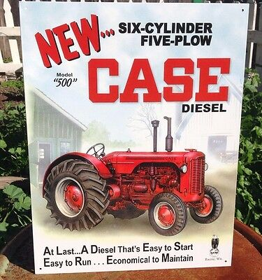 CASE DIESEL MODEL 500 6 CYLINDER Tractor Tin Metal Sign Wall Garage Classic