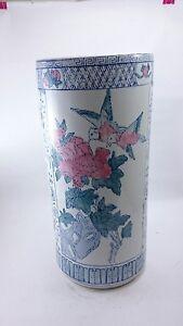 CHINESE VASE Oriental Vintage HAND PAINTED Decor Porcelain Nature Bird Flower
