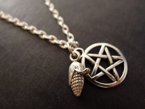 """Harvest Pentacle Necklace 18/"""" silver plated chain pendant wicca pagan mabon"""