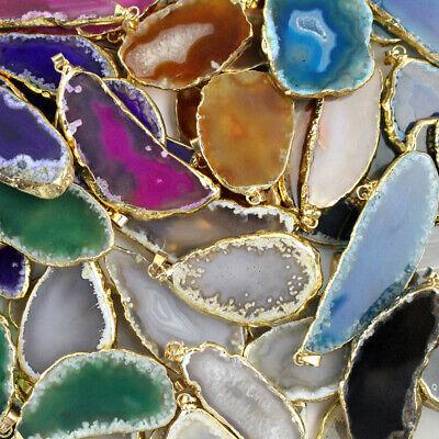 Agate polished irregular geode quartz crystal slice healing stone pendant EW