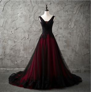c9310f948d1c Red and Black Gothic Wedding Dress A Line Pageant Dresses Prom ...