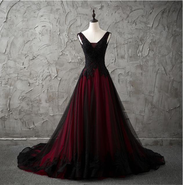 Redblack Gothic Wedding Dress A Line Pageant Dresses Prom Evening