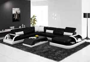 Modern Large LEATHER SOFA Corner Suite Black Modular Valentino ...