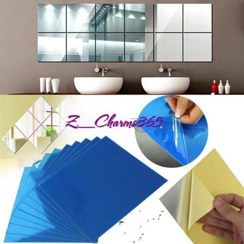 DIY Square Mirror Tile Wall Stickers 3D Decal Mosaic Home Room Decoration YW