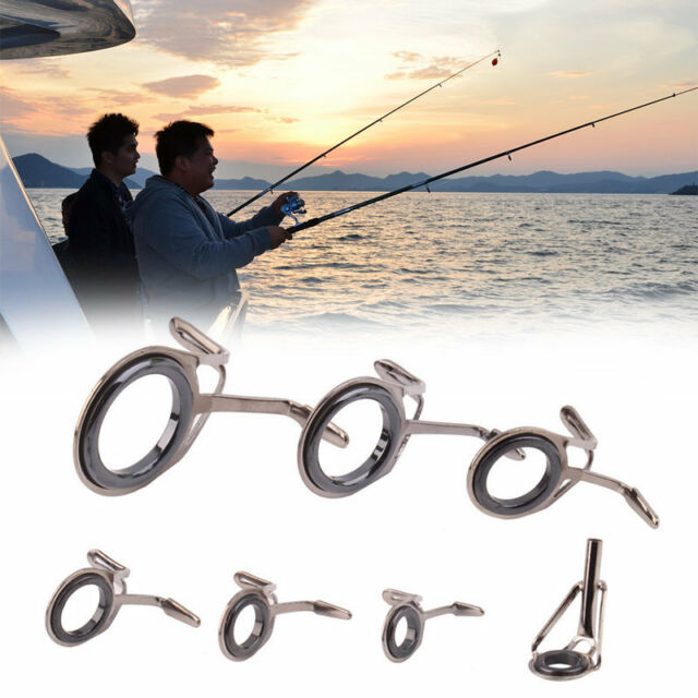 7 pcs Vintage Oval Fishing Tips Rod Guides Ring Stainless Pole Repair Kit Nz