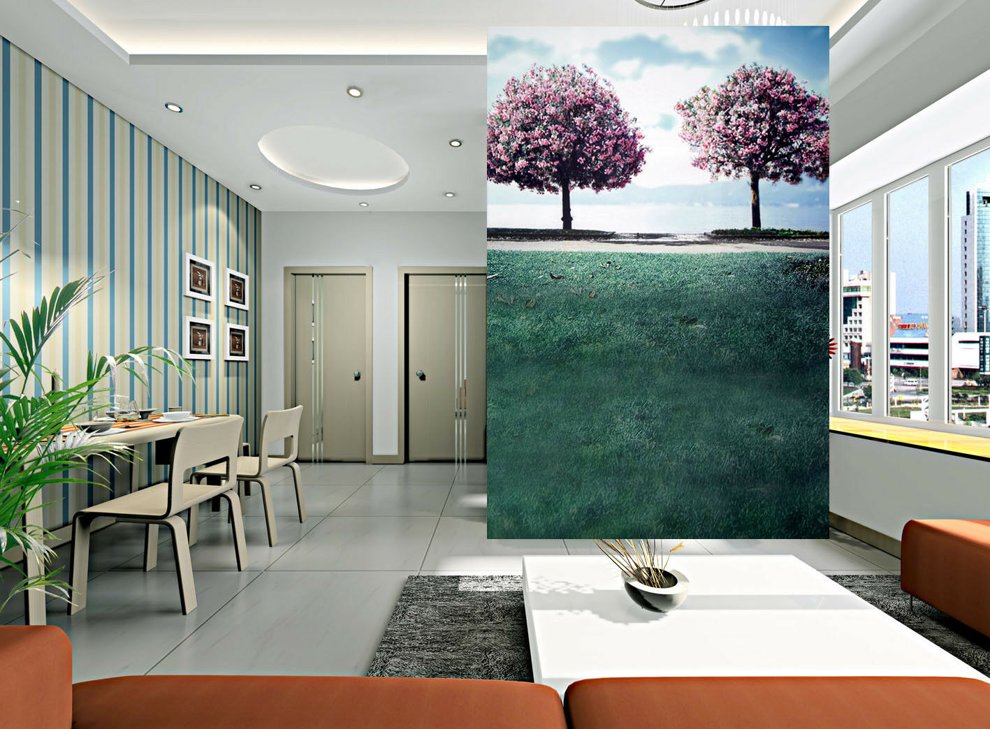 3D Pink Trees Meadow 5 Wall Paper Wall Print Decal Wall Deco Indoor Mural Summer