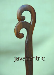 Handmade carved CELTIC wooden HAIR PICK STICK or SHAWL PIN Sapodilla wood new