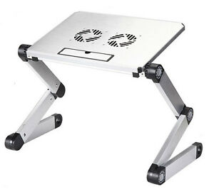 Silver Laptop Usb Desk Table Bed Cooling Fans Stand Tray