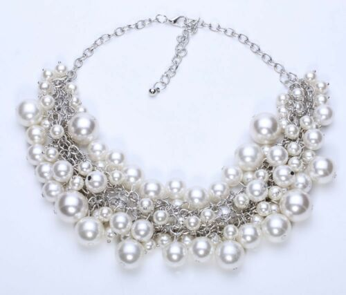 New Arrival fashion chunky luxury bubble simulated pearl pendant choker Necklace