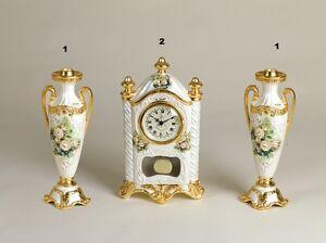 Candeliere E Orologio A Pendolo Via Veneto Ceramica Decoro Fiori Pour AméLiorer La Circulation Sanguine