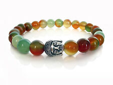 Handmade Semi Precious Stone Bracelet, Rainbow Agate Beads & Silver Buddha Head