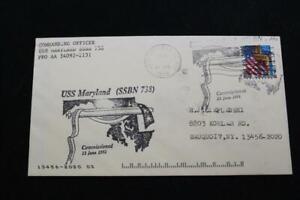 Marine-Abdeckung-1998-Maschine-Stempel-SCHIFFS-Cachet-Uss-Maryland-SSBN-738