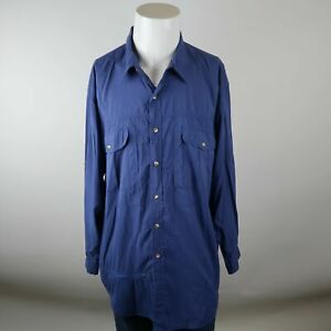 TravelSmith-Blue-Long-Sleeve-Button-Up-Zip-Pocket-Nylon-Casual-Shirt-Mens-Large