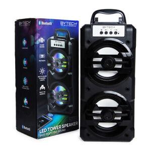 Altavoz Bluetooth Estéreo Portátil Llamado Led Torre Con Radio Fm Ebay