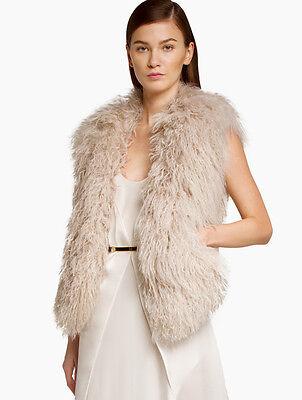 Halston Heritage Fur Vest Eggshell