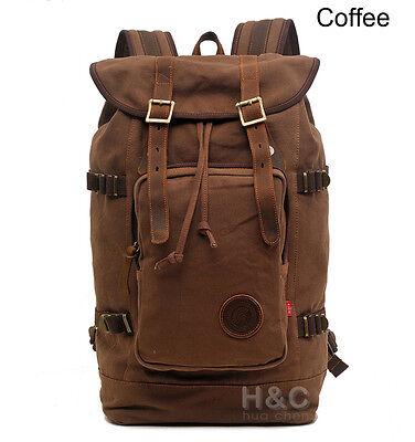 Vintage Retro Travel Canvas Backpack Rucksack Satchel Laptop Hiking School Bag