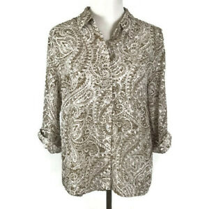 Chicos-Women-Shirt-Size-1-8-M-Brown-White-Floral-Semi-Sheer-Blouse-Top-Button-Up