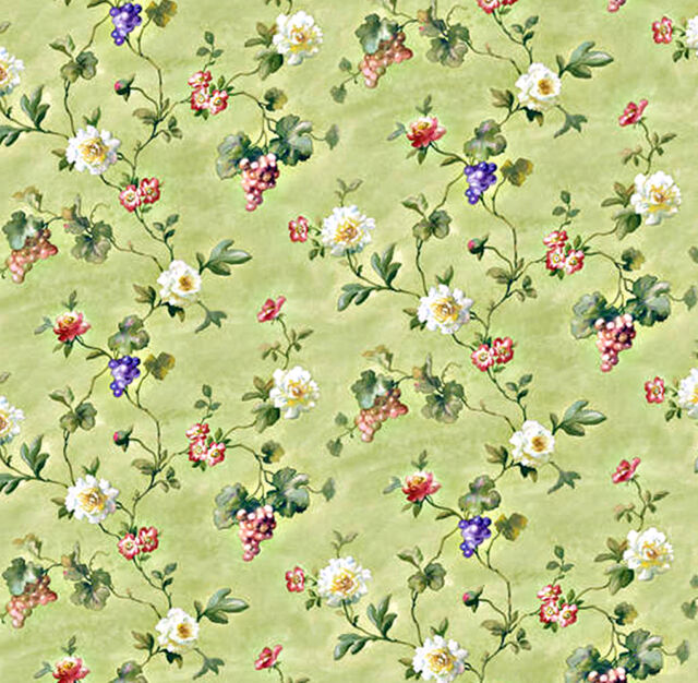 Dolls House Wallpaper 1/12th 1/24th scale Green Quality Paper #231