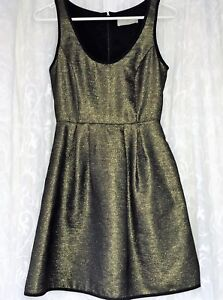 WHITE-SUEDE-SIZE-6-EVENT-COCKTAIL-BLACK-amp-GOLD-METALLIC-DRESS