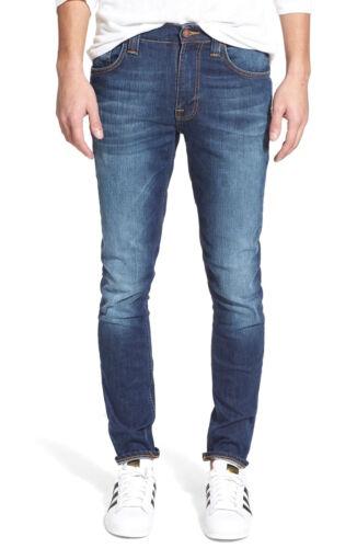 Nudie Herren Slim Fit Stretch Jeans Hose Used Look Thin Finn Pure Streak