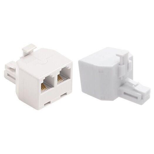 2x RJ11 6P4C Y 1 Female to 2 Female Adapter Divider Splitter Telephone Phone Fax