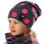 AJS Mädchen Set Mütze Beanie Strickmütze Loopschal Frühling Herbst mit Baumwolle