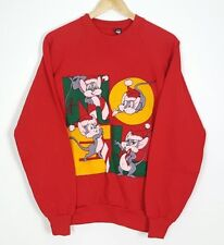 VINTAGE 90'S USA PRINT CARTOON RETRO JUMPR AMERICAN SWEATER SWEATSHIRT M