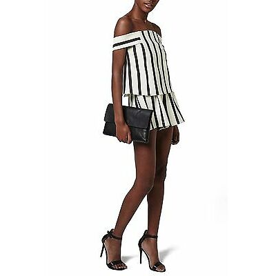 Topshop Stripe Off the Shoulder Romper Size 2 Us
