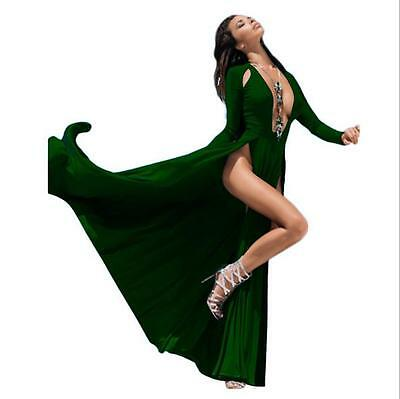 Women maxi dress Long sleeve Deep v neck dress beach party split dress Green