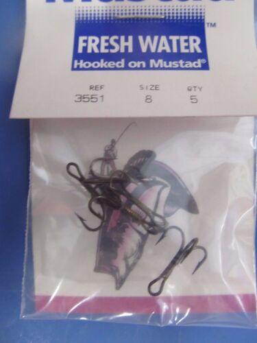 Mustad #3551 Size 8 Treble Hooks Bronze Size 8 Fish Hooks 5 packs of 5  25 Hooks