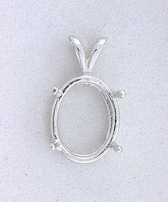 6x4 6mm x 4mm Oval Gemstone Gem Pendant Prenotched Sterling Silver Mounting