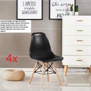 Lot-de-4-chaises-design-tendance-retro-eiffel-bois-chaise-de-salle-a-manger-Noir