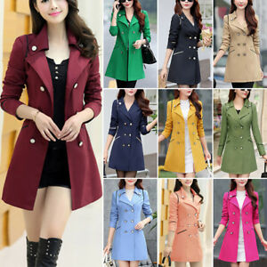 Womens-Double-Breasted-Slim-Windbreaker-Long-Trench-Coat-Jacket-Overcoat-Outwear