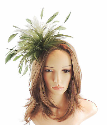Olive Green Fascinator Hat for weddings//ascot//proms with Headband C3
