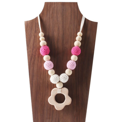 Car Fish Baby Teething Crochet Wooden Beads Teether Necklace Jewelry Shower Gift