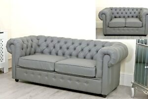 pretty nice 0f796 68d21 Details about Grey Chesterfield sofa Bed Chaise Faux Leather Right Left  Hand Living Room