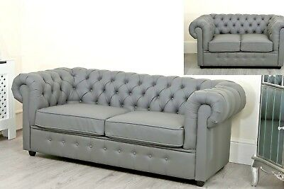 Right Bed Faux Sofa Grey Chesterfield RoomEbay Leather Hand Chaise Left Living kZuPXi