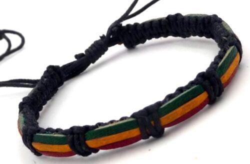 Bracelet réglable rasta Bob Marley reggae Jamaïque en cuir et coton