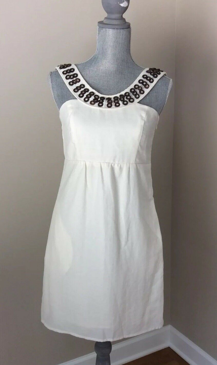 Women's Jade Melody Tam White Dress With Tortoise Shell Accents. Size Xs. NWT