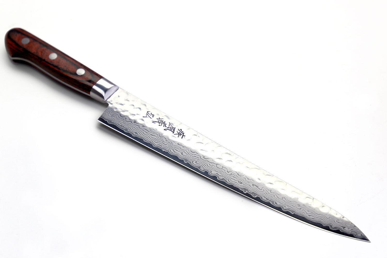 Martelés VG10 Damas Sujihiki Trancheuse 24 cm Japonais Sushi Chef Couteau Yoshihiro