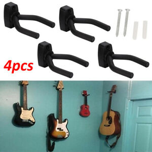 4x Guitar Hanger Wall Mount Stand Hook Wall Holder Rack Bracket Bass Ukulele UK