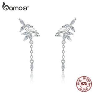 BAMOER-Women-S925-Sterling-silver-Stud-CZ-Earrings-Shiny-flower-Star-Jewelry