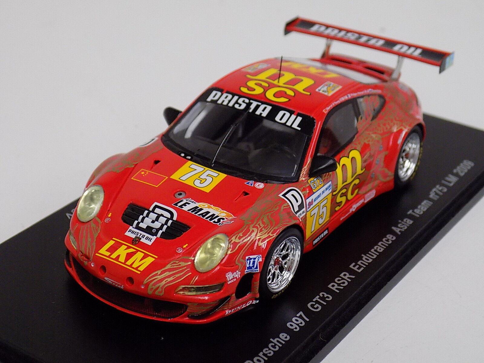 ofrecemos varias marcas famosas 1 43 Spark Porsche 911  997  GT3 GT3 GT3 RSR coche  75 2009 24 horas de LeMans S1953  ventas en línea de venta