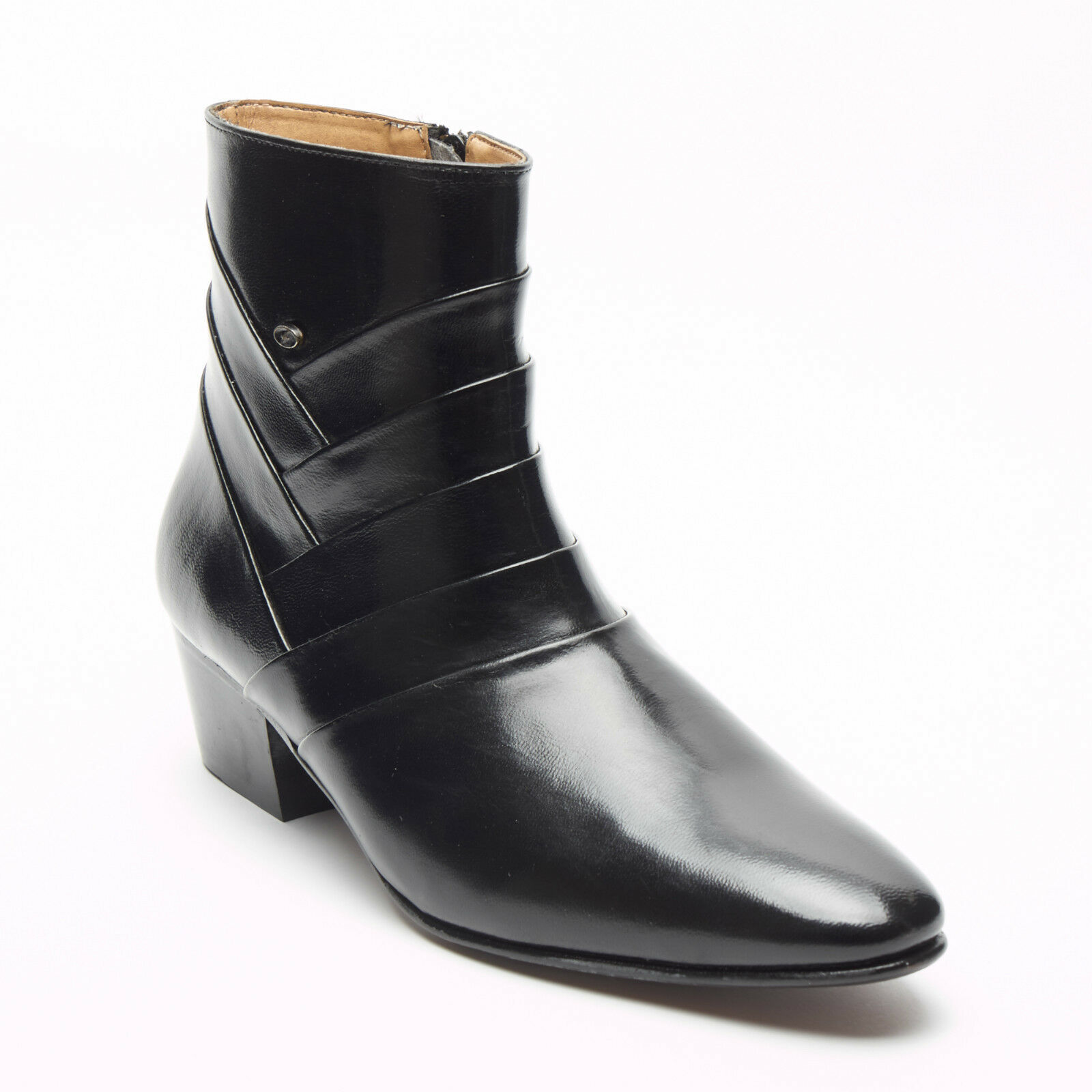 MENS FORMAL LUCINI LEATHER CUBAN HEEL BLACK ANKLE BOOTS,ZIP UP,SIZES 6-11 26288