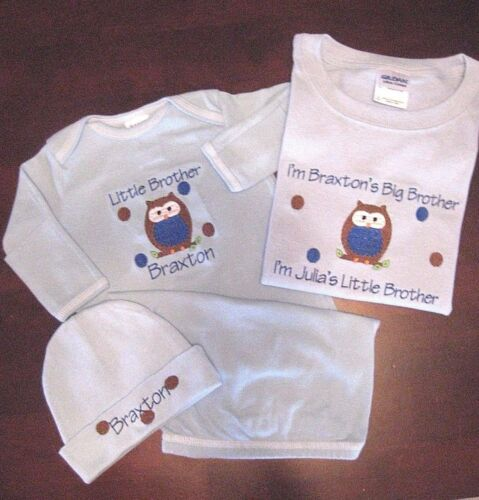 Personalized BIG//LITTLE Sister BIG//LITTLE Brother OWL T Shirt /& SLEEPER HAT Set
